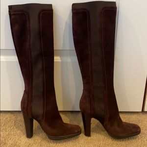 Sergio Rossi seude and fabric pull on boots